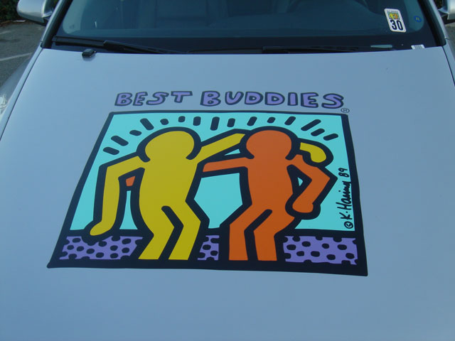 The Best Buddies logo signifies the friendship that everyone can extend to others and especially to those who need it most, the Intellectually Challenged and those who are different than ourselves.