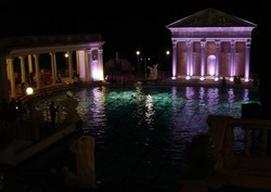 High on the ridge overlooking the Pacific stands Hearst Castle itself with its remarkable Neptune Pool.  The scene of many an infamous party during the Golden Age of Hollywood, this part of the  Hearst legacy is a magnificent sight esp at night.