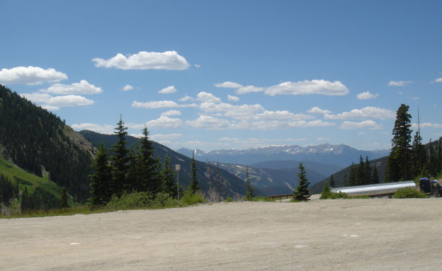 The ride up means that you get to ride down too, the view from the top of Fremont Pass.