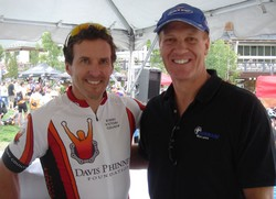 Randy and Davis Phinney after the ride for Davis Phinney Foundation for Parkinson Disease.