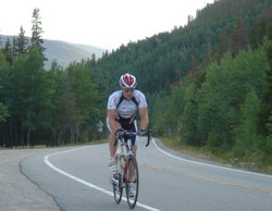 Randy heads up Loveland Pass for some more hilly climbs.