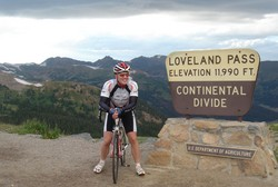 Randy poses at the top- at just under 12,000 feet Loveland Pass is one of the highest in the Rockies.